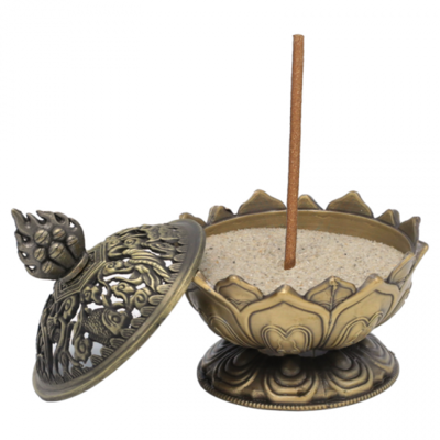 Wierookhouder Lotus bronskleurig